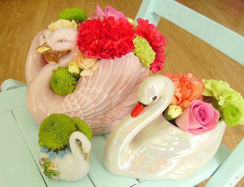 vintage swan flowers flourish aberdeen